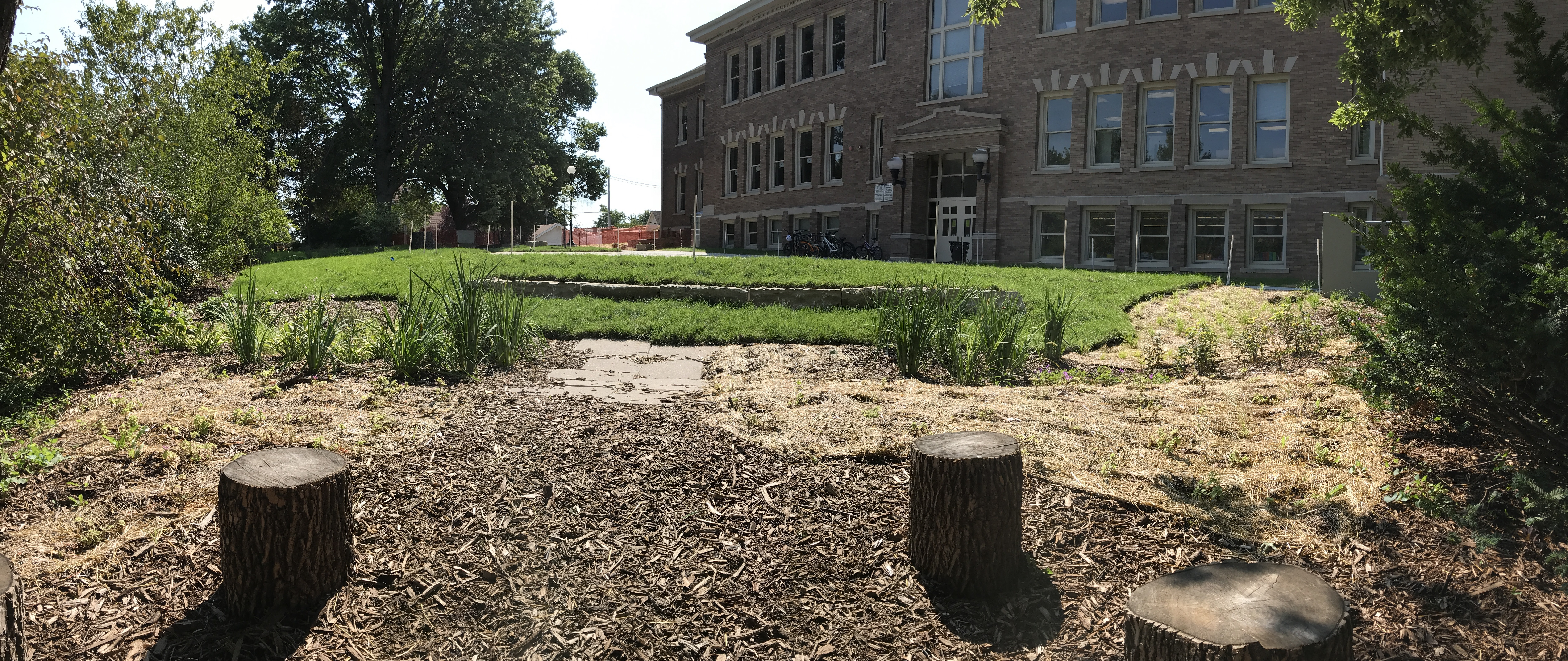 View of Dundee Elementary Green Infrastructure Outdoor  Classroom from the Woodland Council Ring